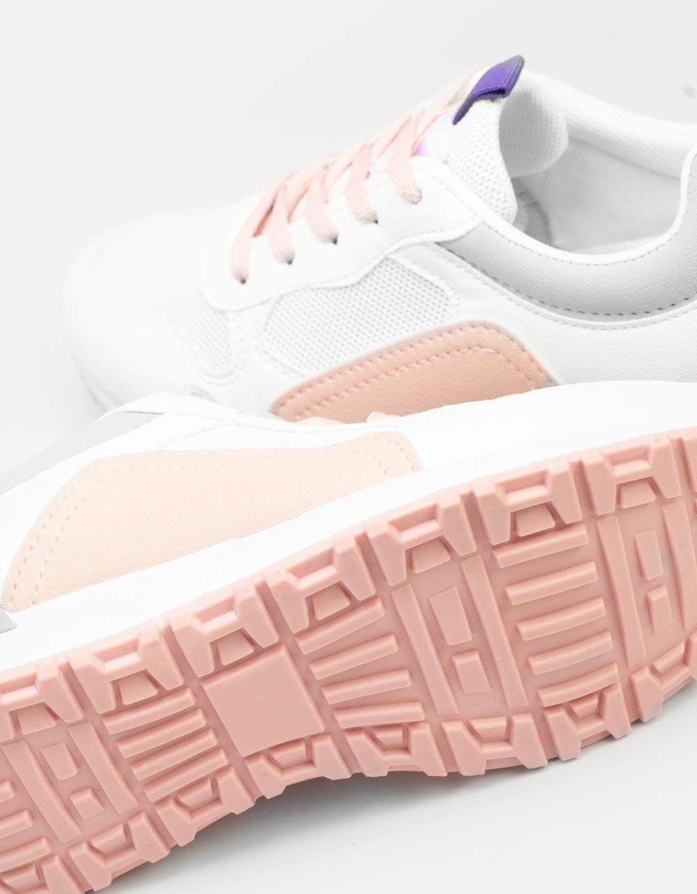 Εικόνα από Γυναικεία sneakers με δίχρωμο σχέδιο Λευκό/Ροζ
