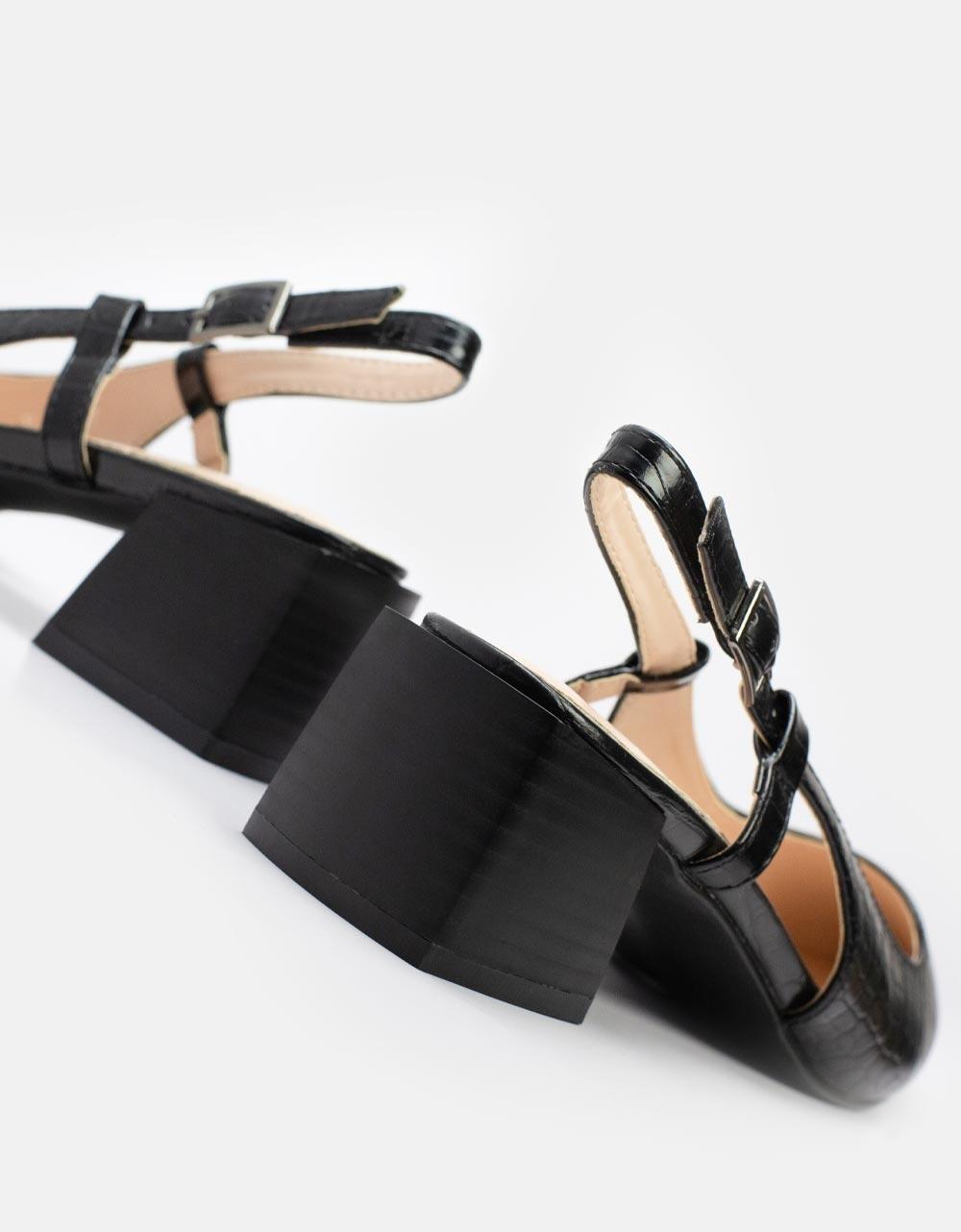 Εικόνα από Γυναικείες γόβες με καρέ τακούνι και κροκό μοτίβο Μαύρο