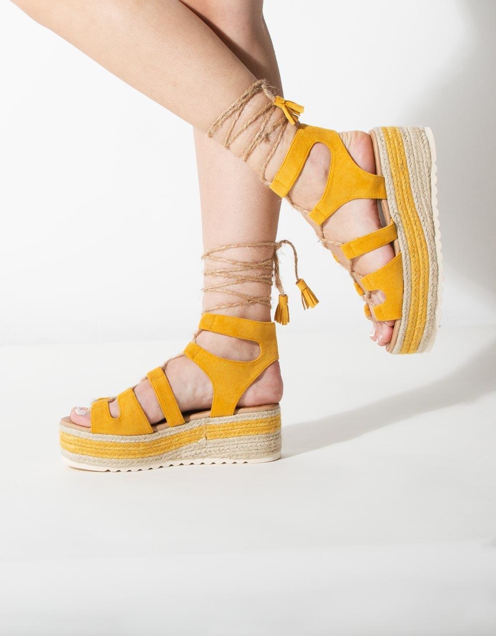 Εικόνα από Γυναικείες πλατφόρμες lace up Κίτρινο