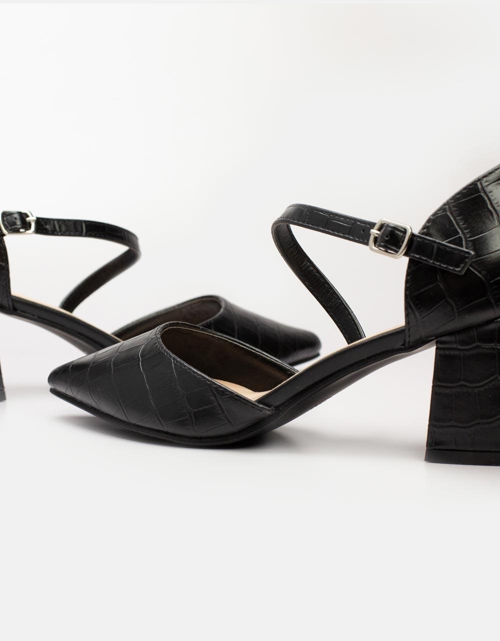 Εικόνα από Γυναικείες γόβες με κροκό μοτίβο Μαύρο