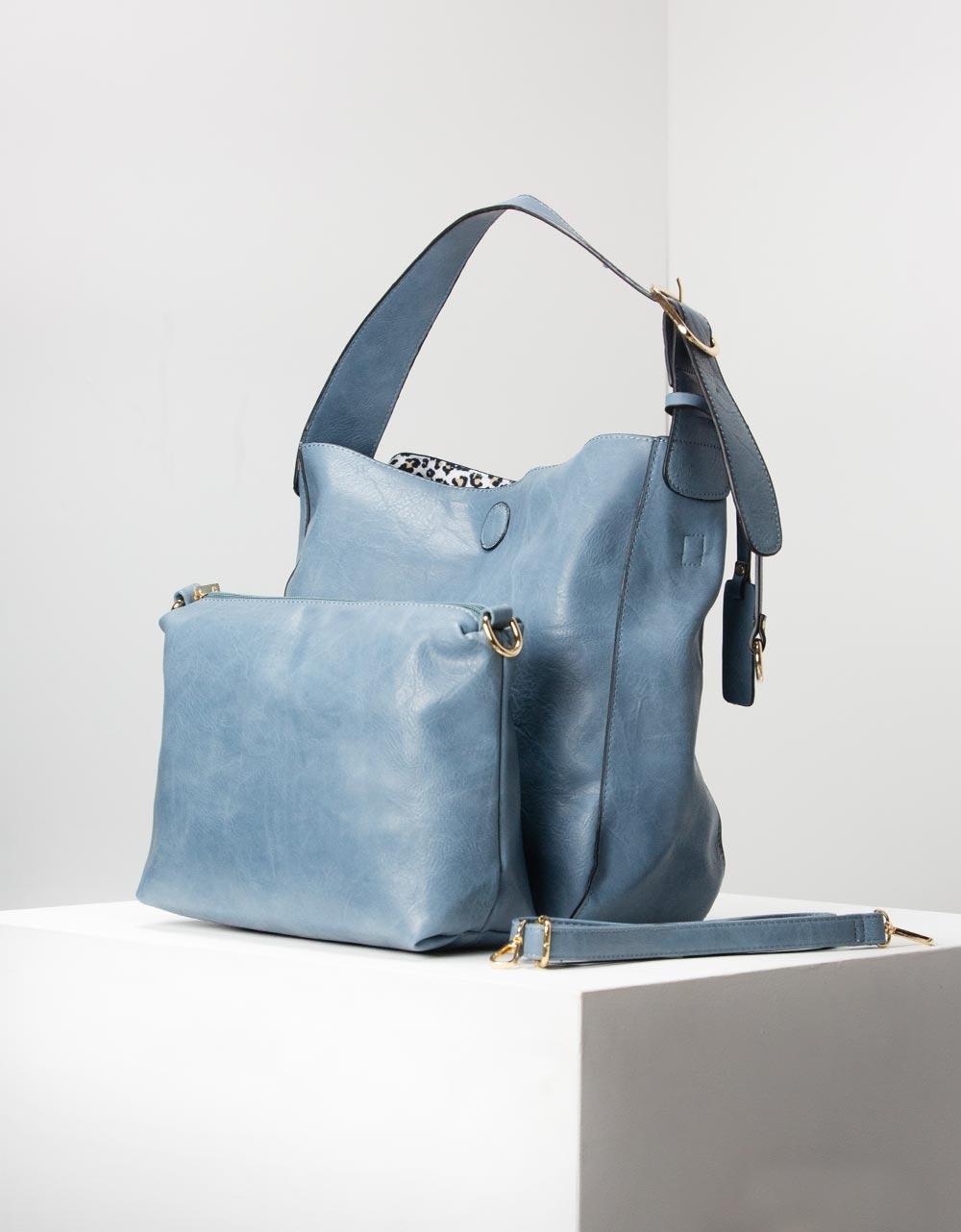 Εικόνα από Γυναικεία τσάντα χειρός basic με εσωτερικό τσαντάκι Σιέλ
