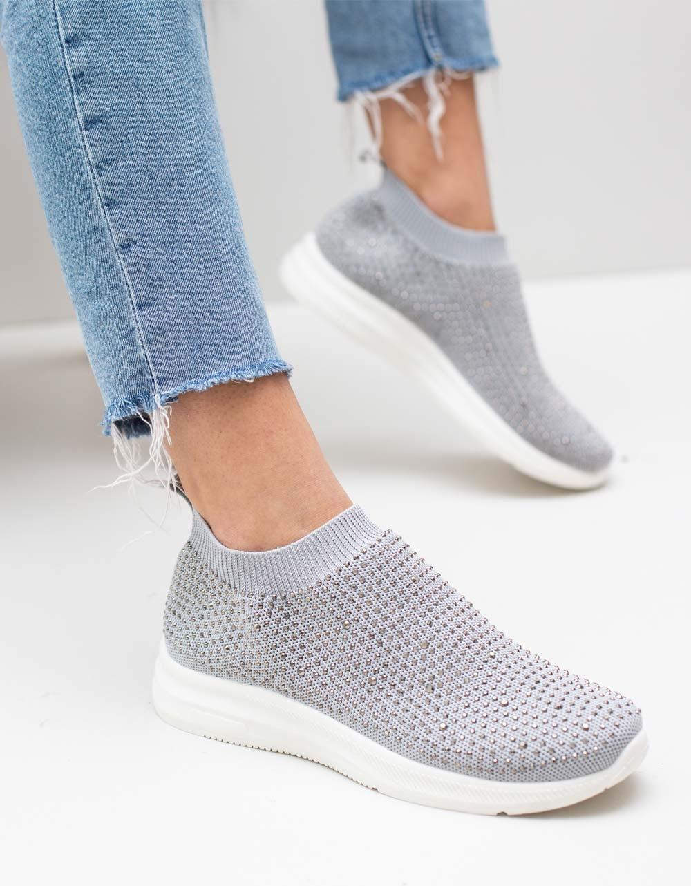 Εικόνα από Γυναικεία sneakers με στρας Γκρι