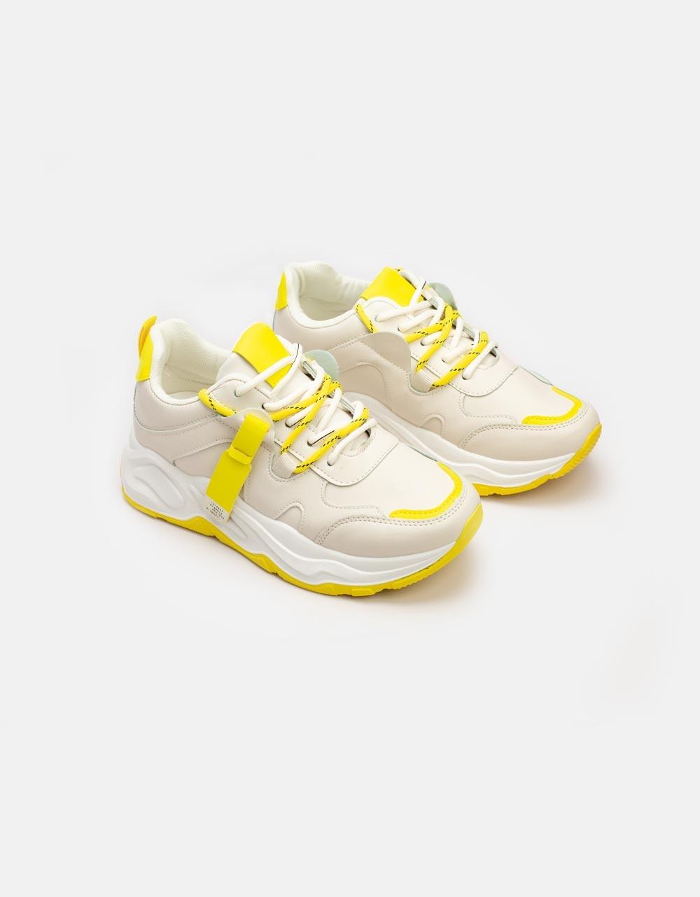 Εικόνα από Γυναικεία sneakers με ανάγλυφες λεπτομέρειες Μπέζ/Κίτρινο