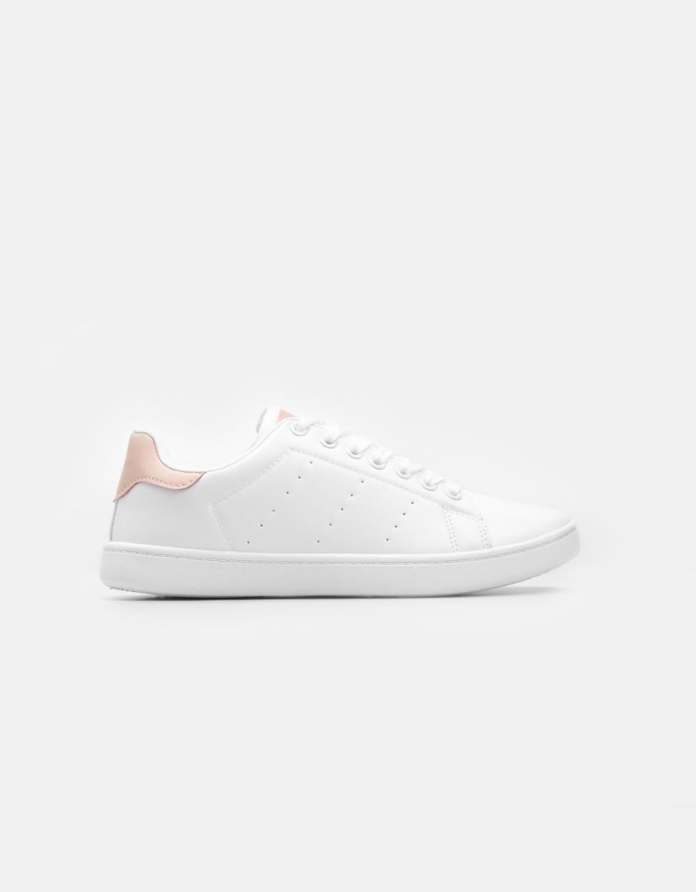Εικόνα από Γυναικεία sneakers σε απλή γραμμή Λευκό/Ροζ