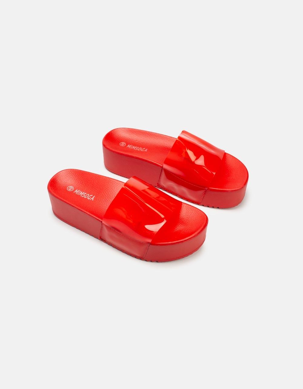 Εικόνα από Γυναικεία σανδάλια με διάφανη φάσα Κόκκινο