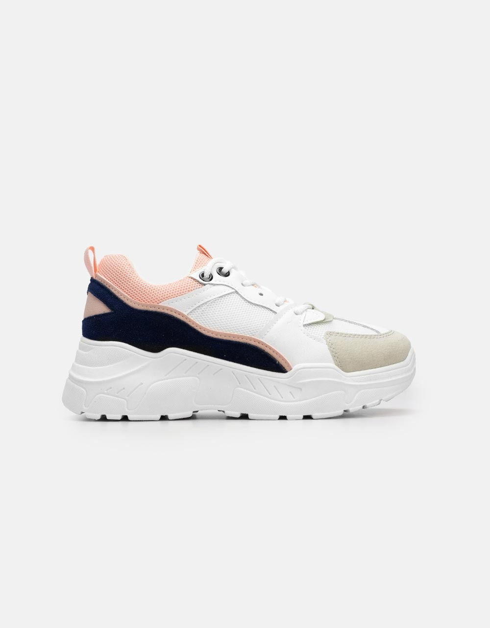 Εικόνα από Γυναικεία sneakers με ανάγλυφες λεπτομέρειες Λευκό/Ροζ