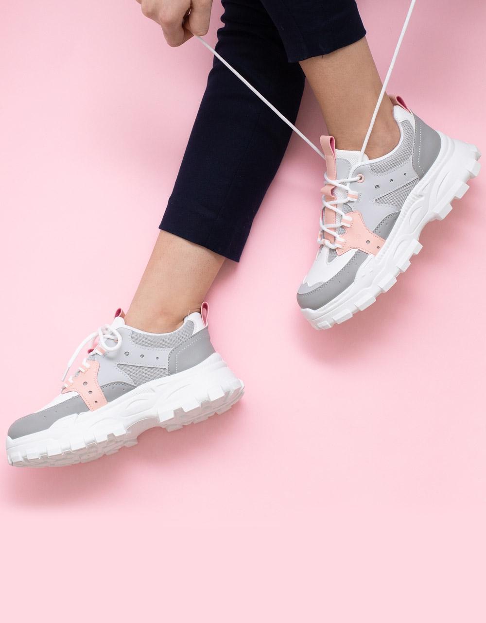 Εικόνα από Γυναικεία sneaker με τρακτερωτή σόλα Γκρι/Λευκό