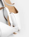 Εικόνα από Γυναικείες γόβες με χαμηλό τακούνι και κροκό μοτίβο Λευκό