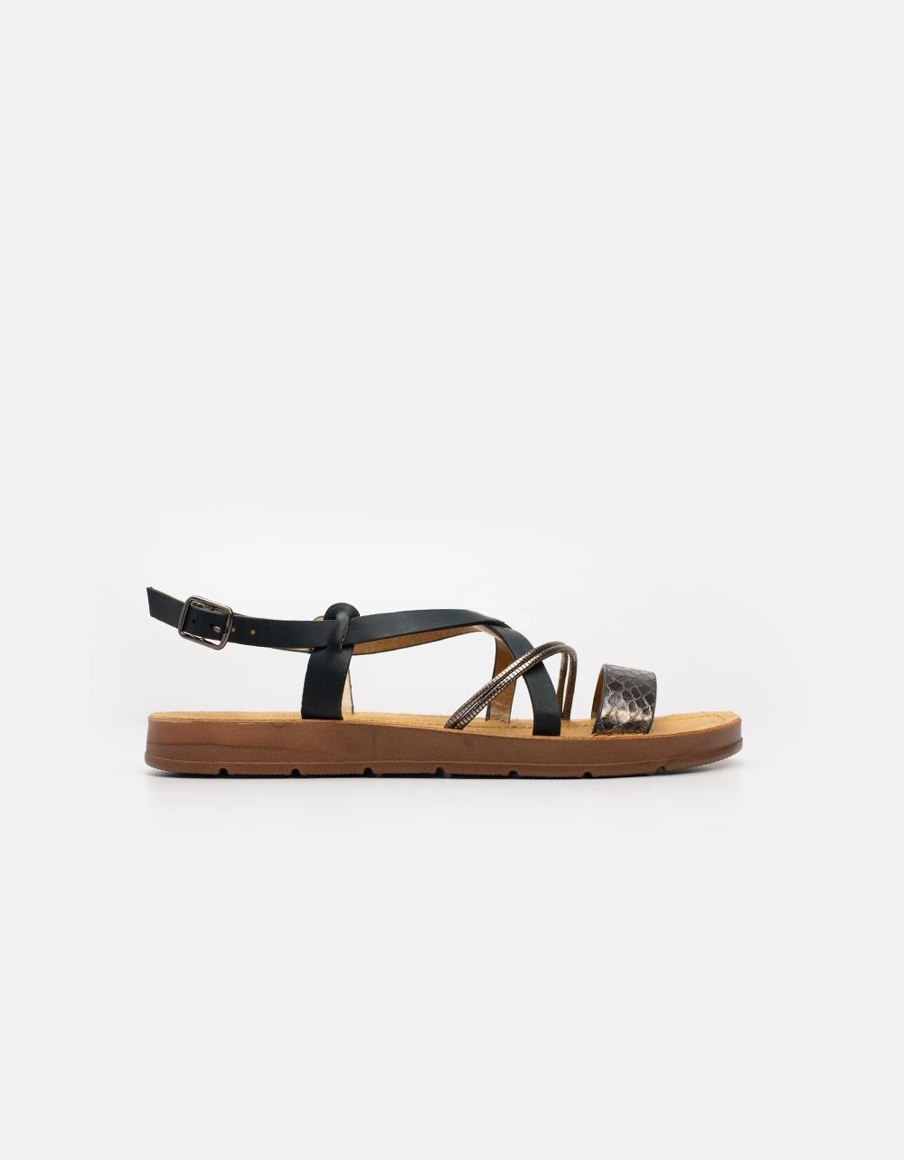 Εικόνα από Γυναικεία σανδάλια με μεταλλιζέ λεπτομέρειες Μαύρο