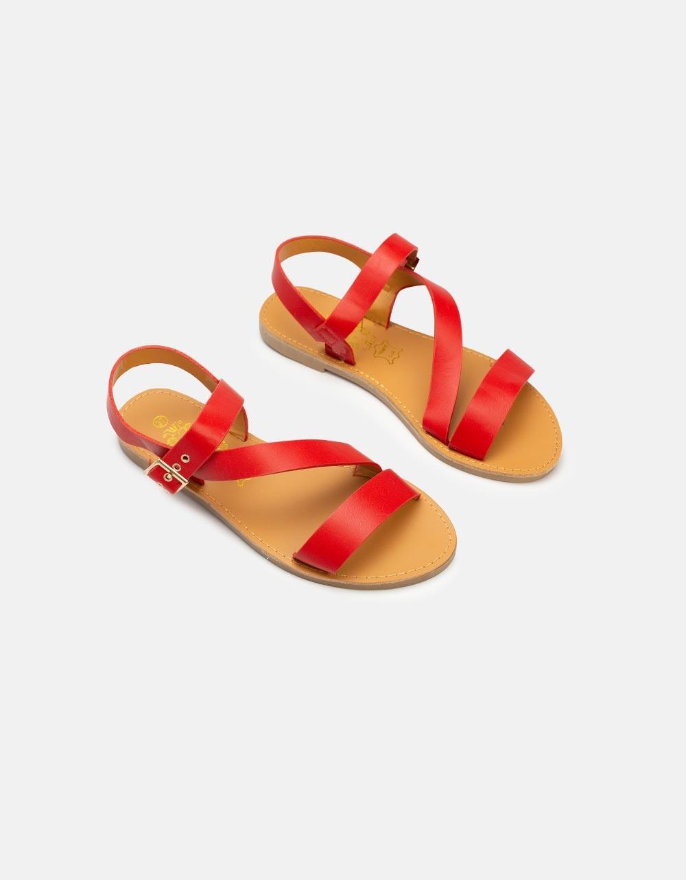 Εικόνα από Γυναικεία σανδάλια μονόχρωμα Κόκκινο