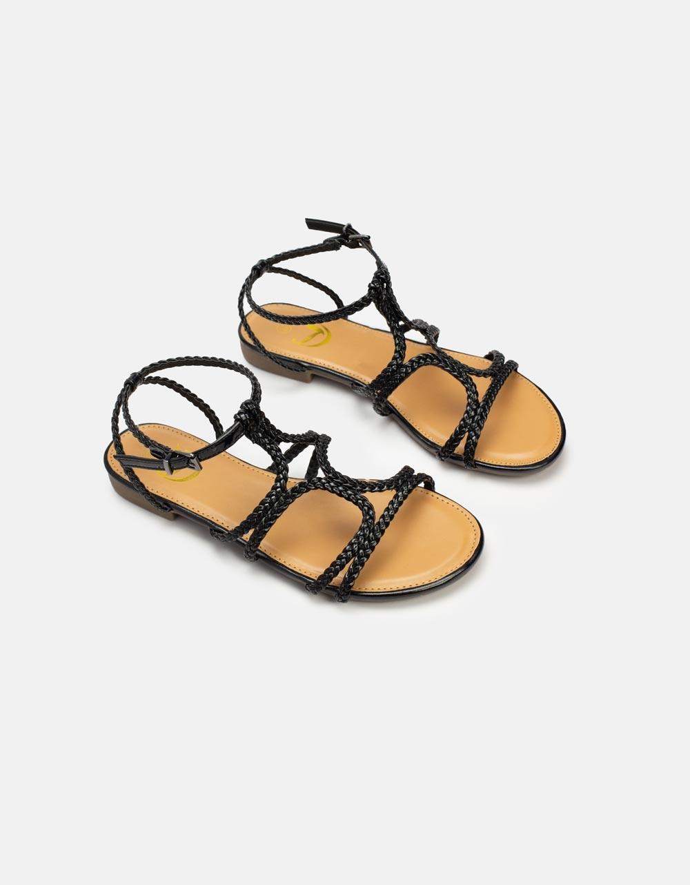 Εικόνα από Γυναικεία σανδάλια με λουριά από πλεξούδες Μαύρο