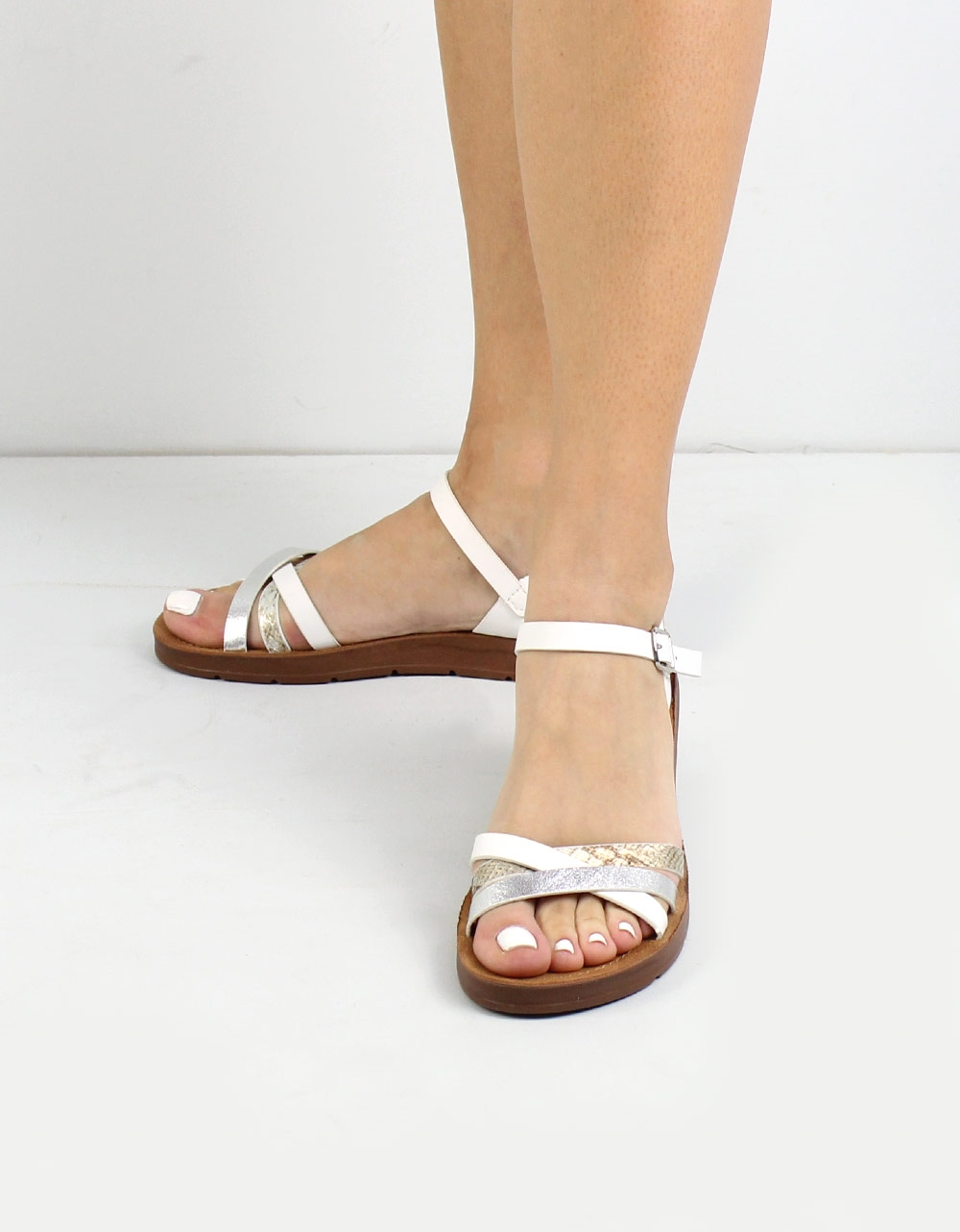 Εικόνα από Γυναικεία σανδάλια με glitter και κροκό λεπτομέρεια Λευκό