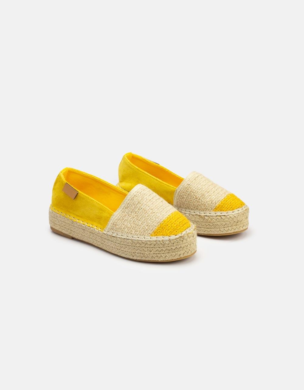 Εικόνα από Γυναικείες εσπαντρίγιες flat δίχρωμες Κίτρινο