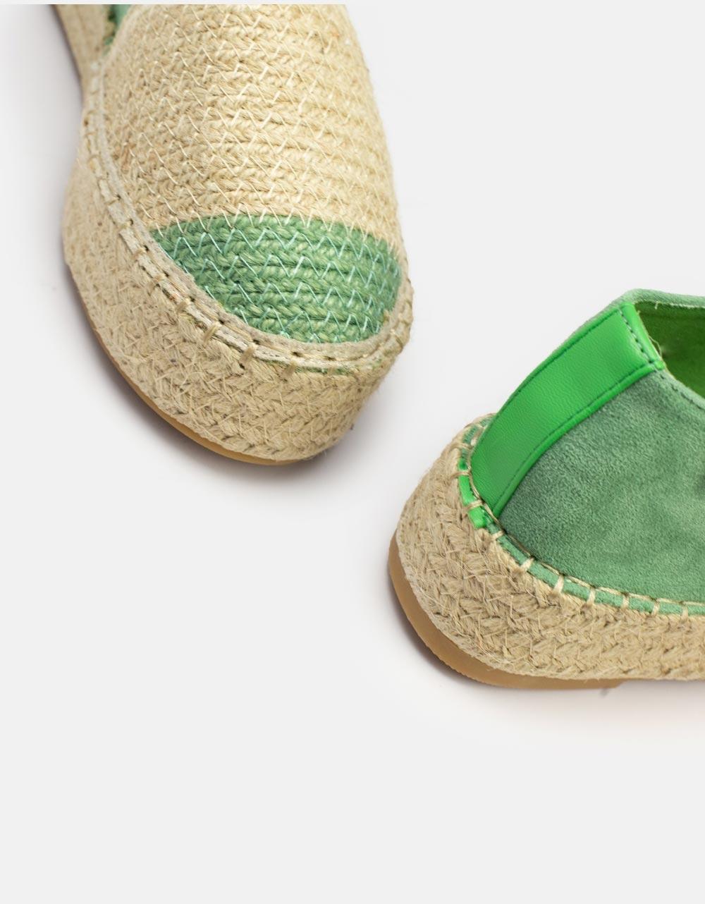 Εικόνα από Γυναικείες εσπαντρίγιες flat δίχρωμες Πράσινο