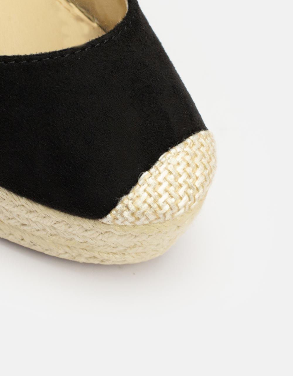Εικόνα από Γυναικείες πλατφόρμες με υφασμάτινα lace up λουριά Μαύρο