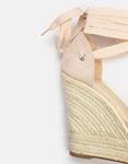 Εικόνα από Γυναικείες πλατφόρμες με υφασμάτινα lace up λουριά Μπεζ