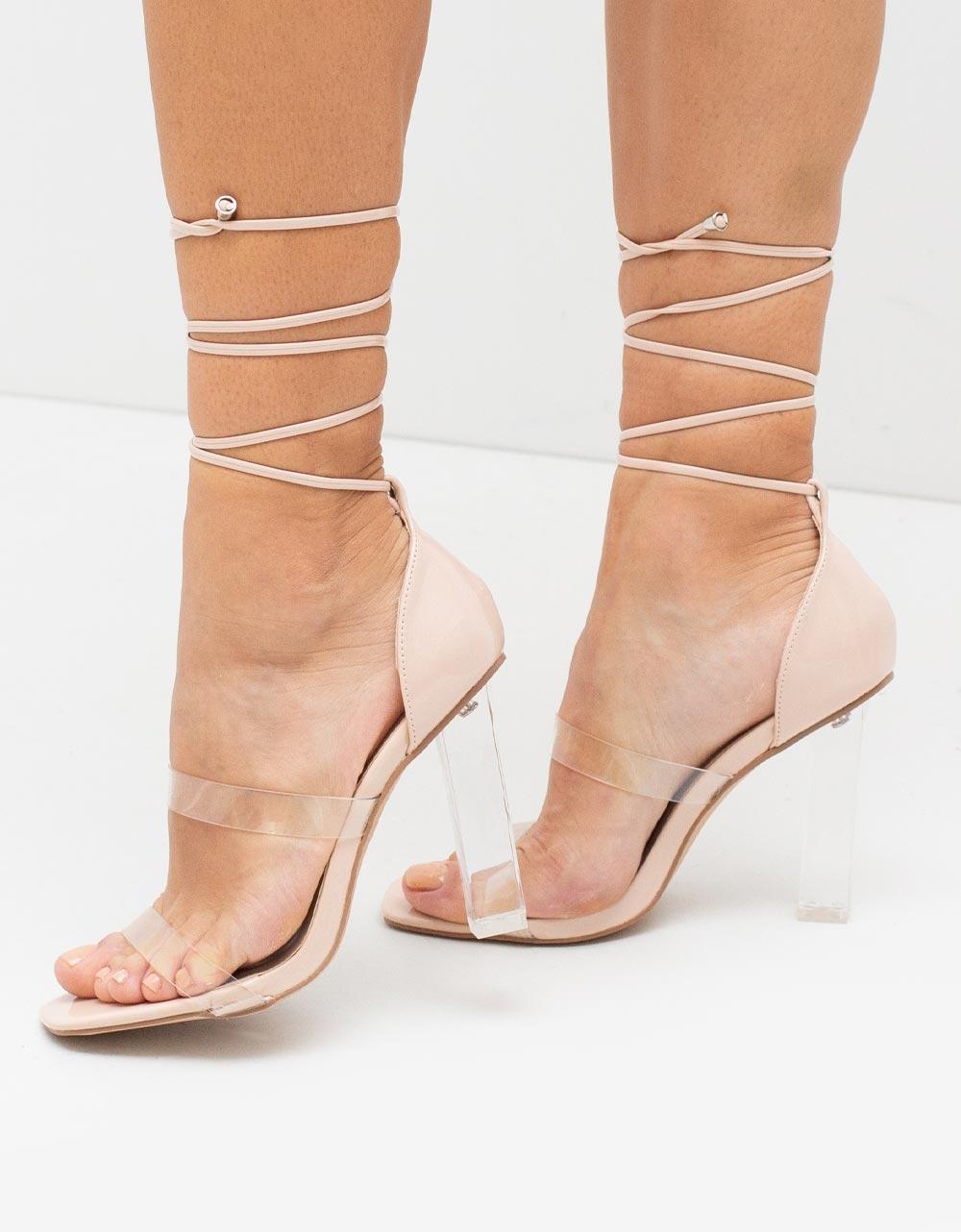 Εικόνα από Γυναικεία πέδιλα lace up με διπλή διαφάνεια Μπεζ