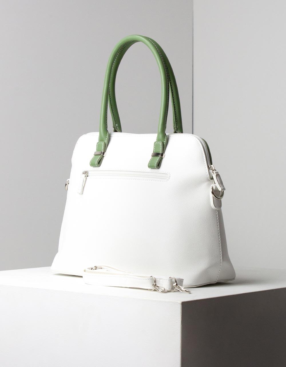 Εικόνα από Γυναικεία τσάντα ώμου με δίχρωμες λεπτομέρειες Λευκό