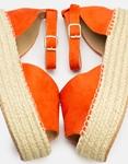 Εικόνα από Γυναικείες εσπαντρίγιες suede με δέσιμο στον αστράγαλο Πορτοκαλί