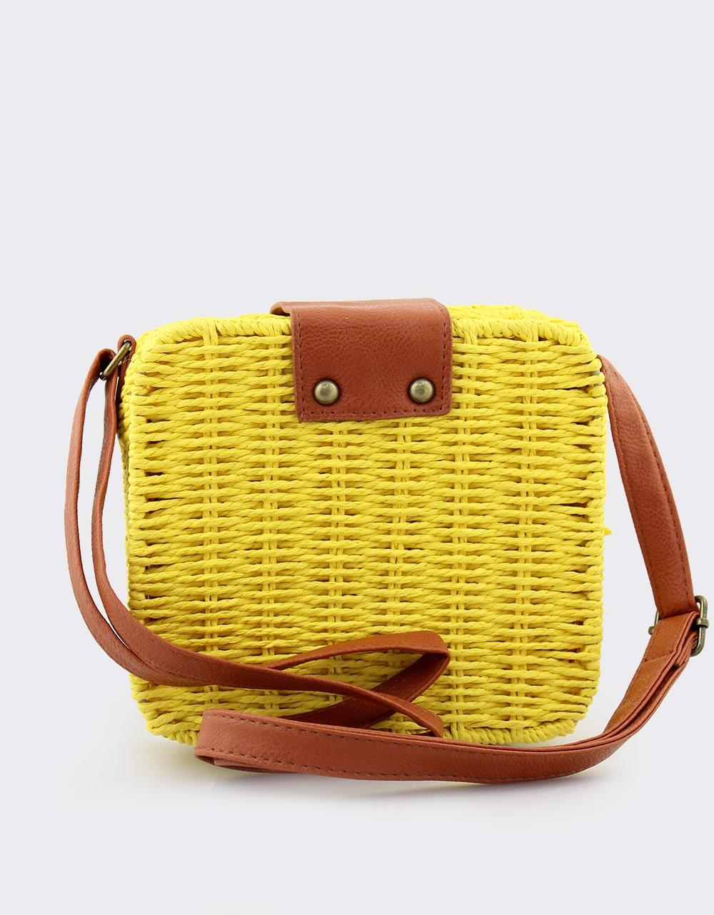 Εικόνα από Γυναικείες τσάντες ώμου τετράγωνες Κίτρινο