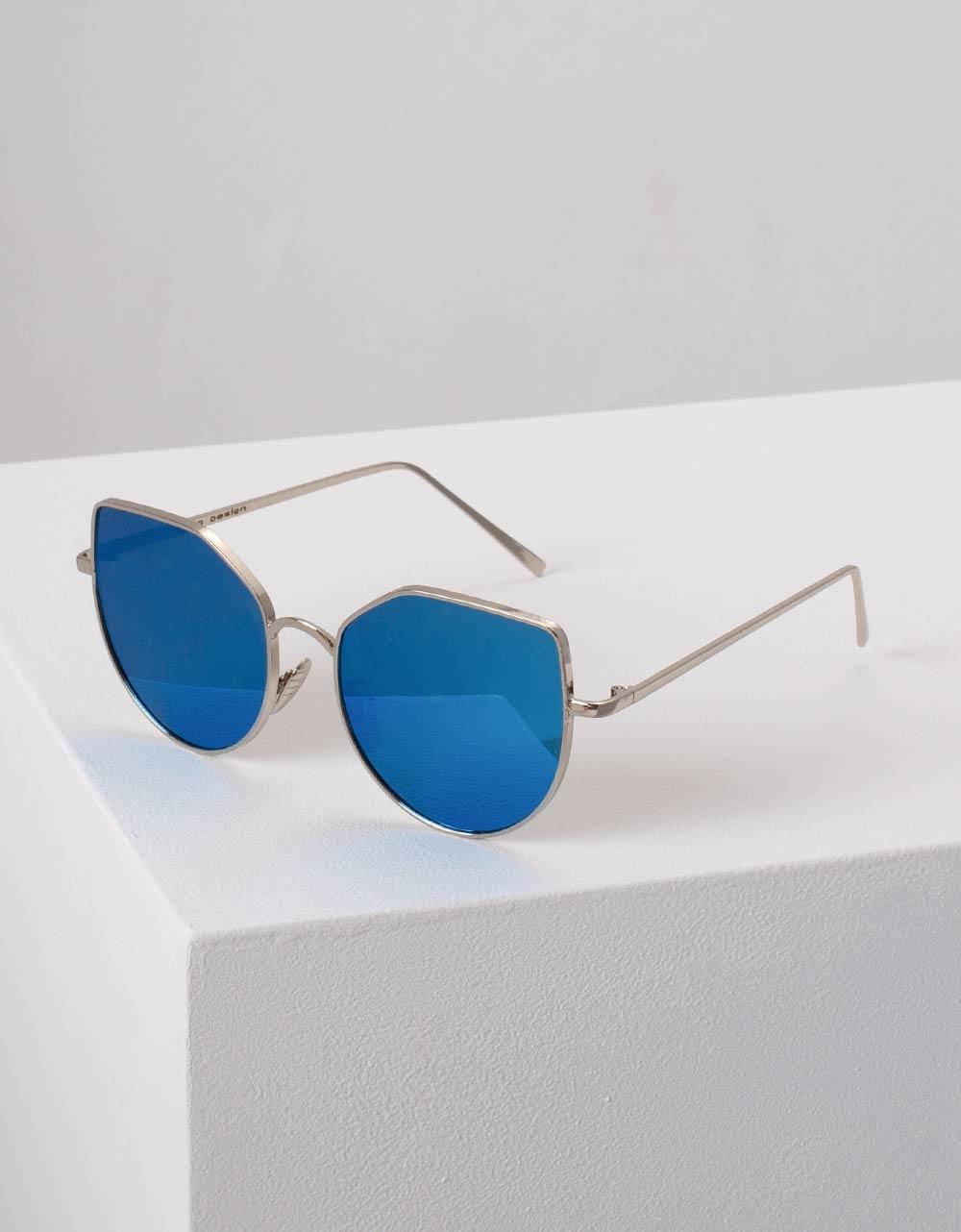 Εικόνα από Γυναικεία γυαλιά ηλίου με καθρέφτη στο φακό Μπλε