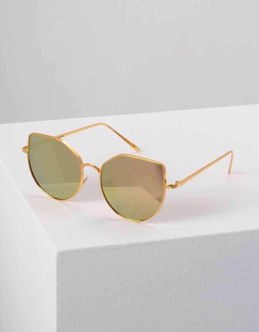 Εικόνα από Γυναικεία γυαλιά ηλίου με καθρέφτη στο φακό Κίτρινο