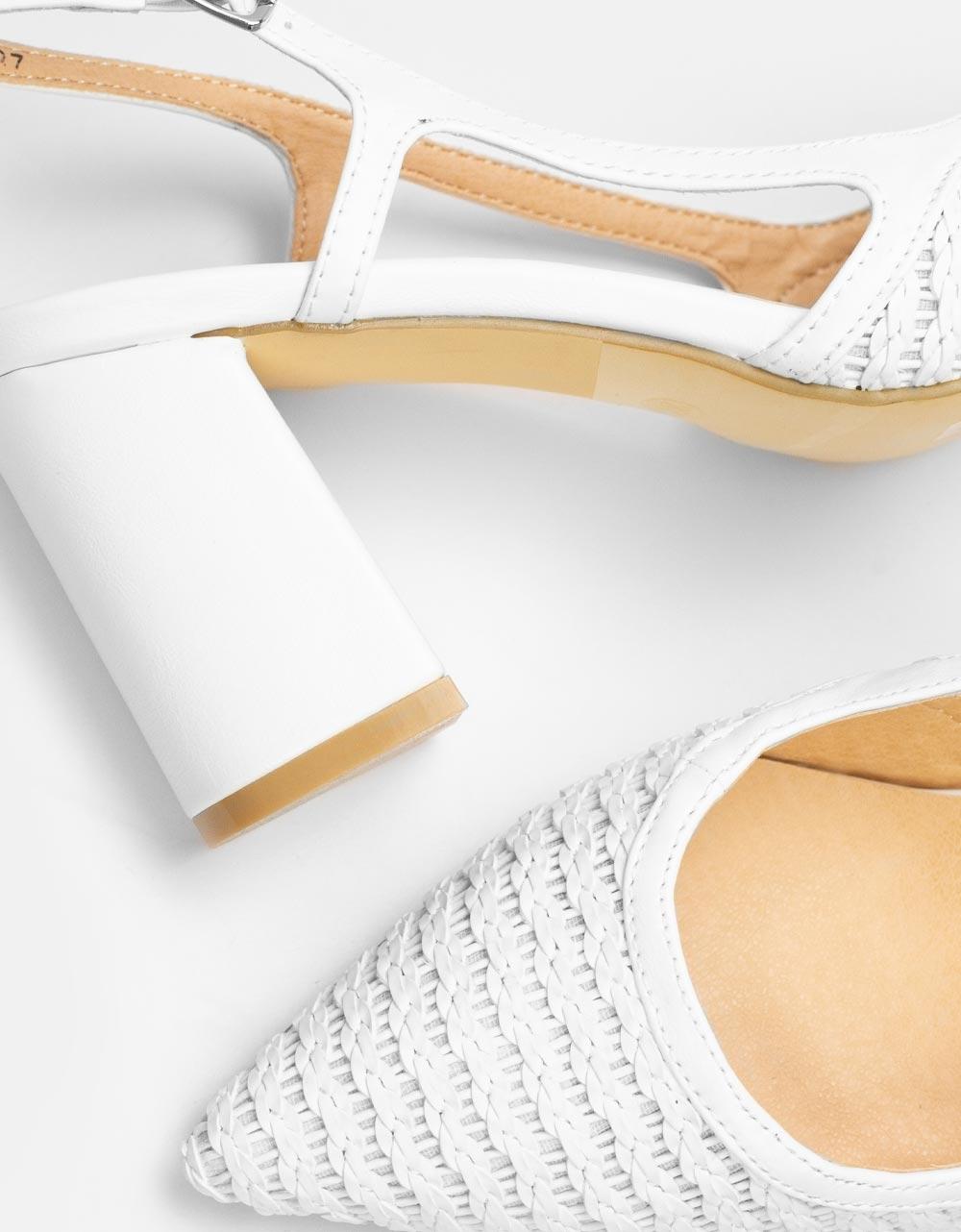 Εικόνα από Γυναικείες γόβες με διπλό υλικό Λευκό