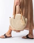 Εικόνα από Γυναικείες τσάντες ώμου χιαστί ψάθινες με διακοσμητικό φουντάκι Μπεζ