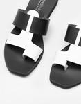 Εικόνα από Γυναικεία δερμάτινα σανδάλια δίχρωμα Λευκό/Μαύρο