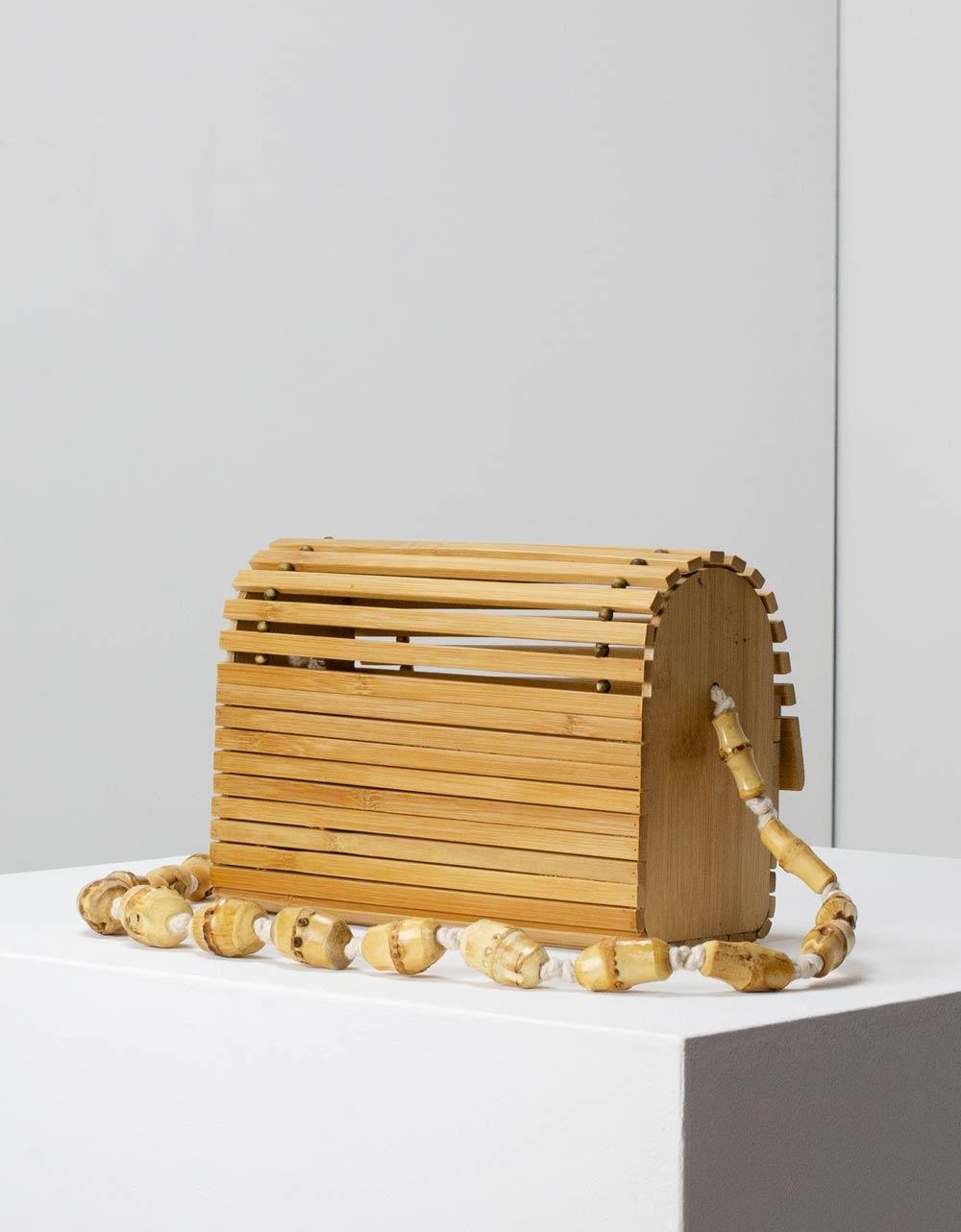 Εικόνα από Γυναικεία τσάντα ώμου Bamboo σε τετράγωνο σχήμα Φυσικό