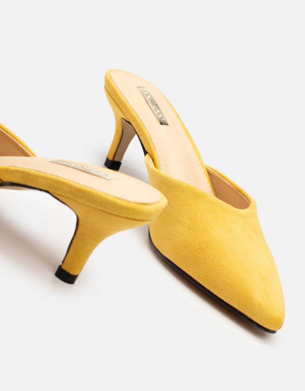 Εικόνα από Γυναικεία mules μυτερά μονόχρωμα Κίτρινο