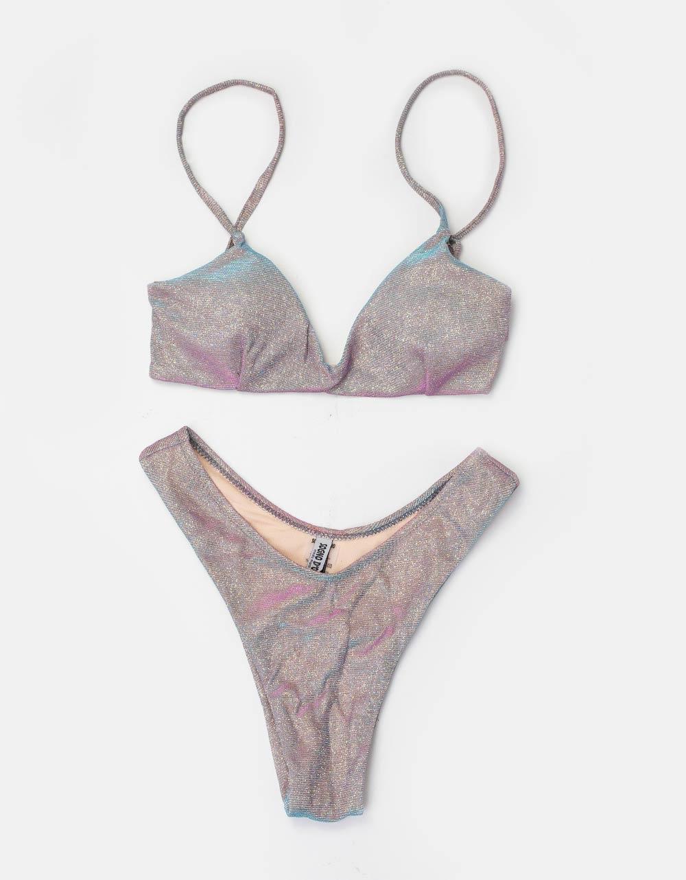 Εικόνα από Γυναικεία μαγιό σετ μπικίνι lurex Ροζ