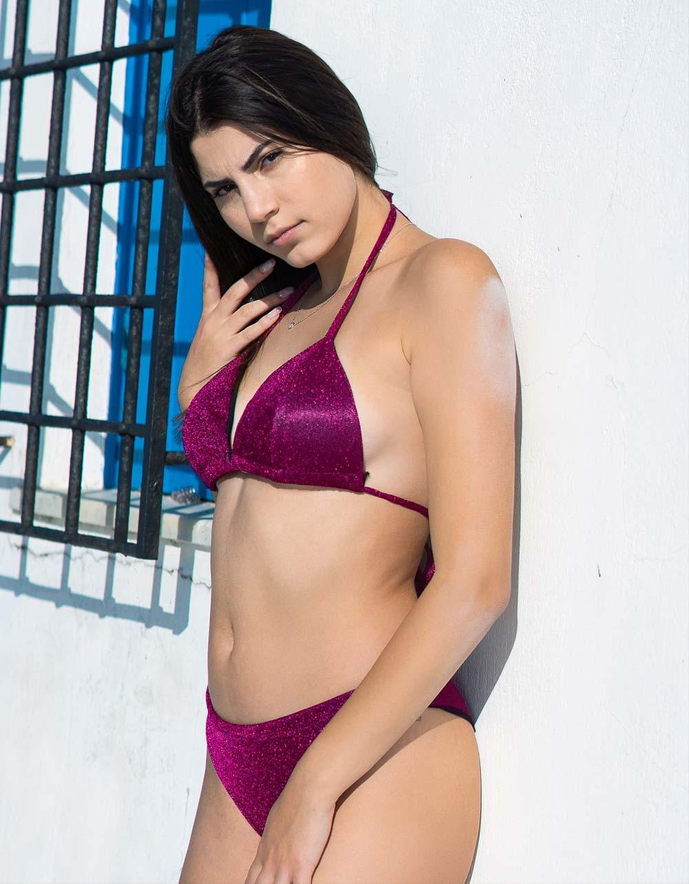 Εικόνα από Γυναικεία μαγιό σετ μπικίνι lurex Φούξια