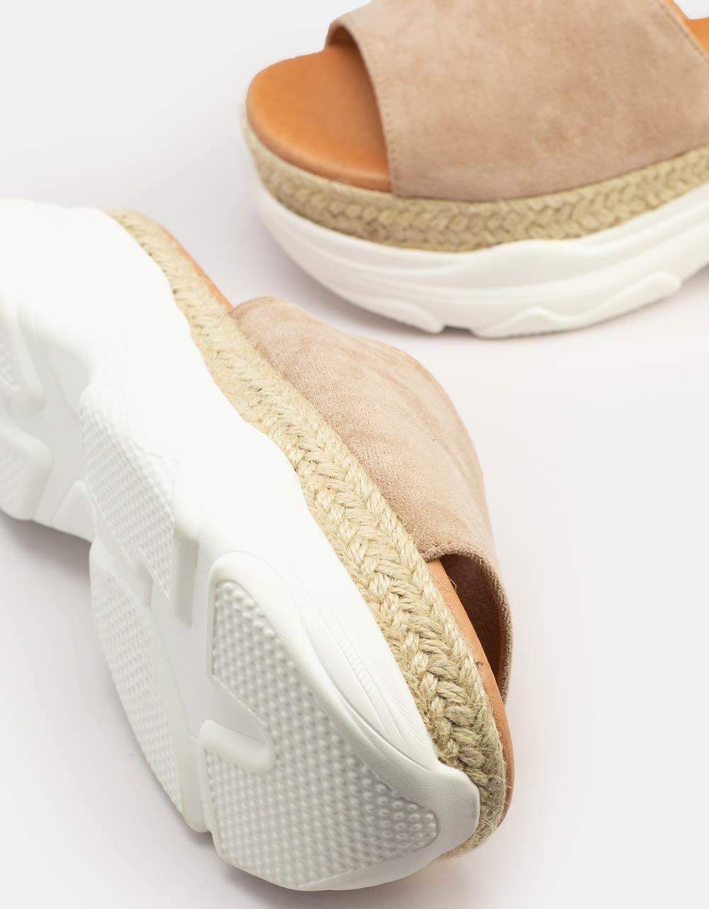 Εικόνα από Γυναικεία σανδάλια με διπλό υλικό Μπεζ