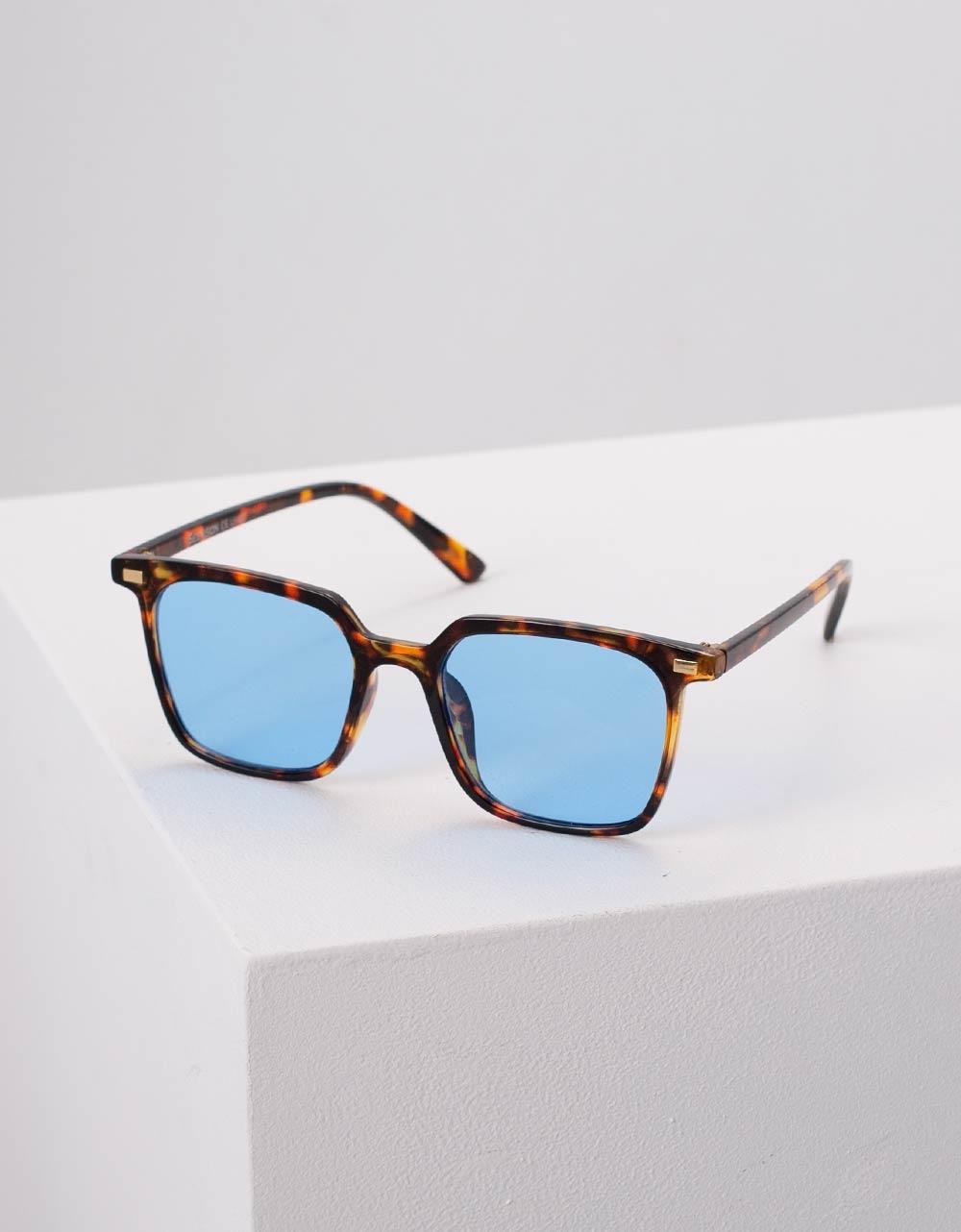Εικόνα από Γυναικεία γυαλιά ηλίου με σκελετό λεοπάρ Μπλε