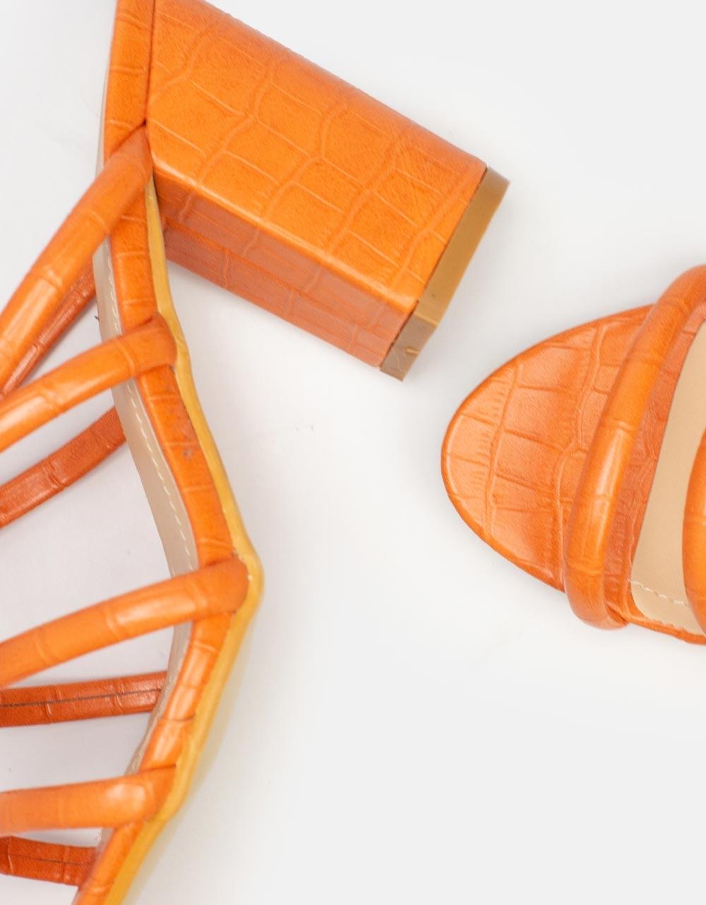 Εικόνα από Γυναικεία mules κροκό με χοντρό τακούνι Πορτοκαλί