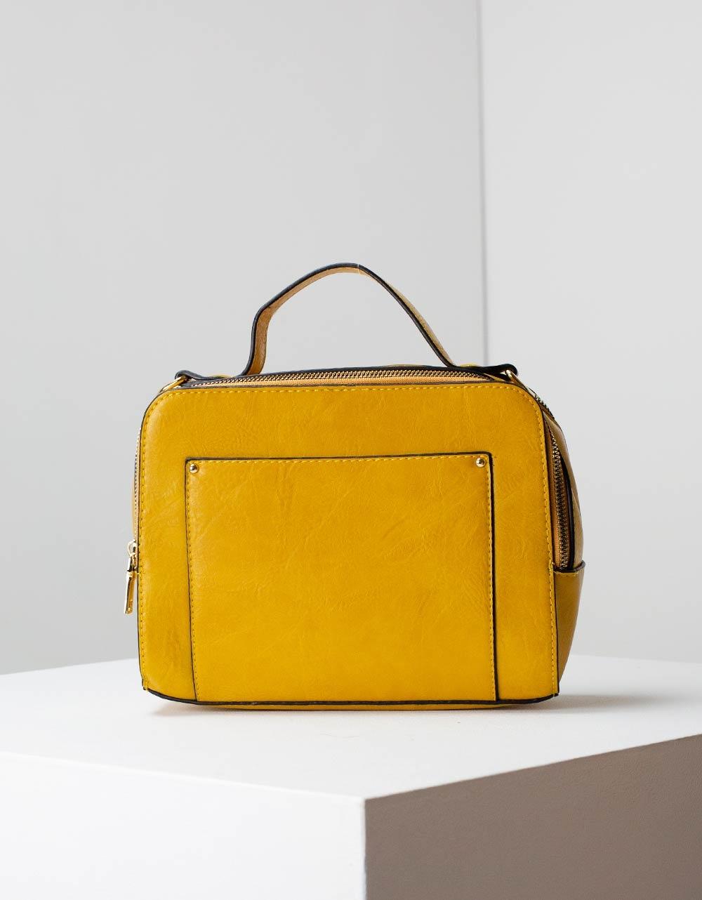 Εικόνα από Γυναικεία τσάντα ώμου μονόχρωμη Κίτρινο