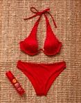 Εικόνα από Γυναικεία μαγιό σετ μπικίνι με μπανέλα Κόκκινο