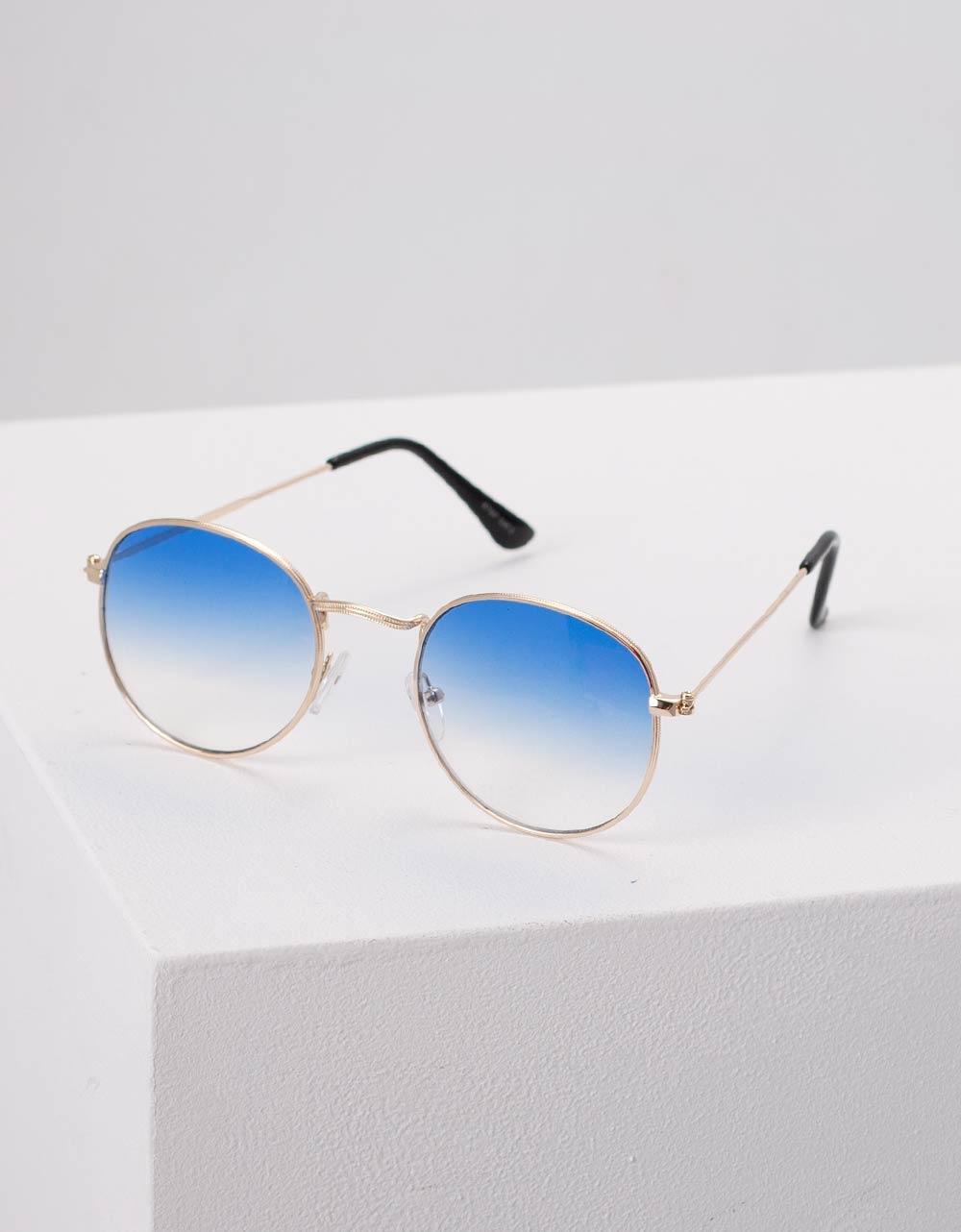 Εικόνα από Γυναικεία γυαλιά ηλίου με λεπτό σκελετό Μπλε