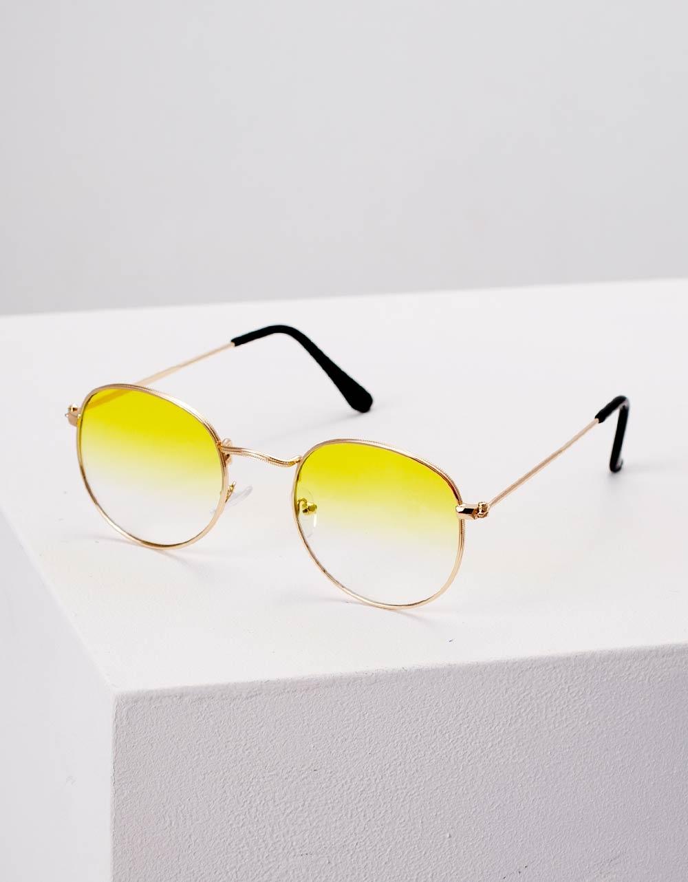 Εικόνα από Γυναικεία γυαλιά ηλίου με λεπτό σκελετό Κίτρινο