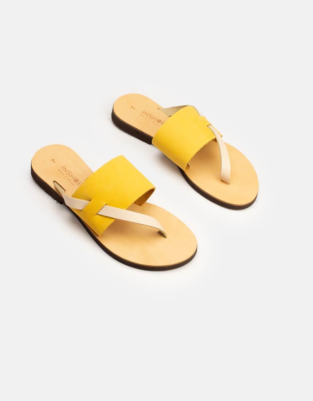 Εικόνα από Γυναικεία δερμάτινα σανδάλια με λεπτομέρεια Κίτρινο