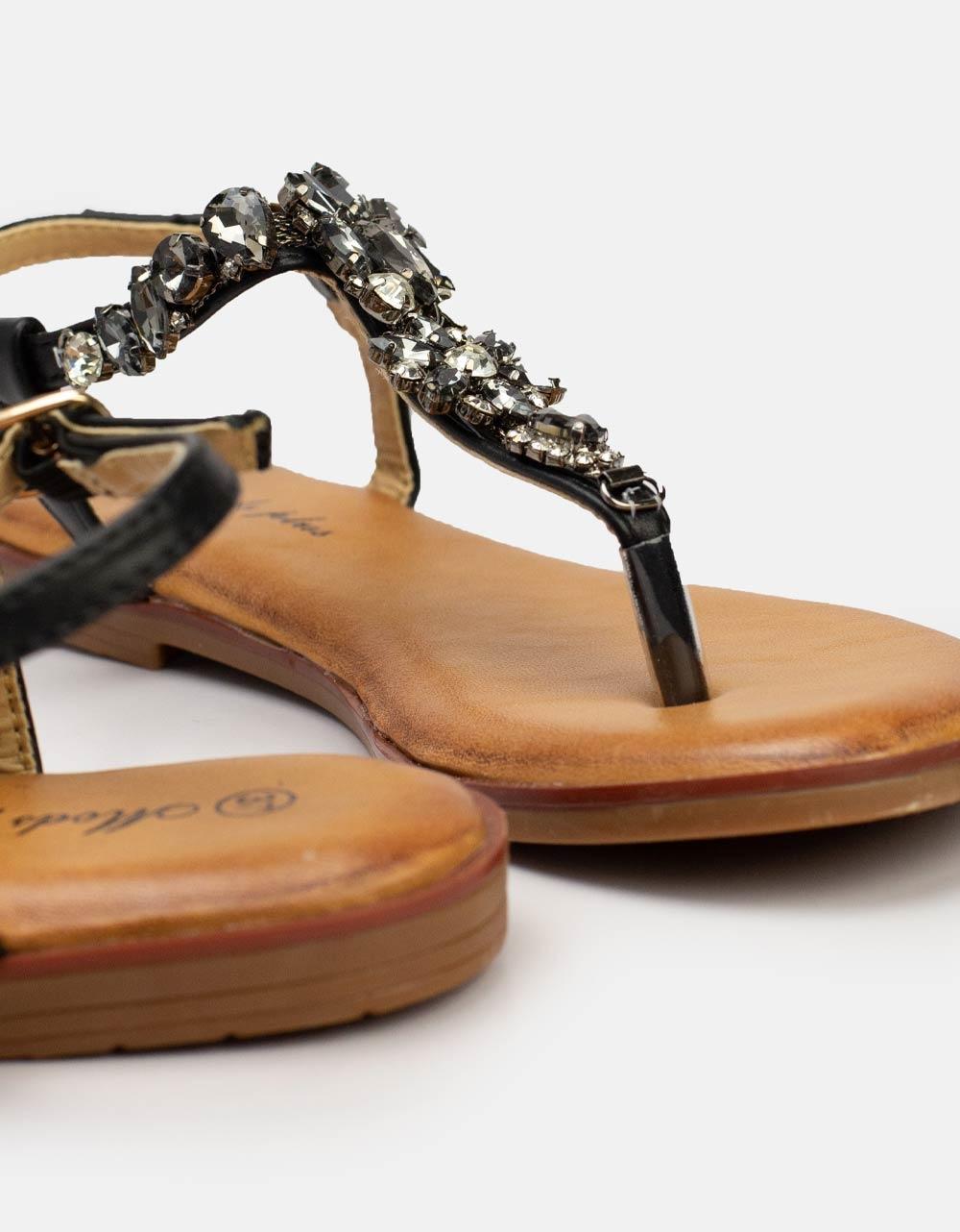 Εικόνα από Γυναικεία σανδάλια με strass και πέτρες Μαύρο