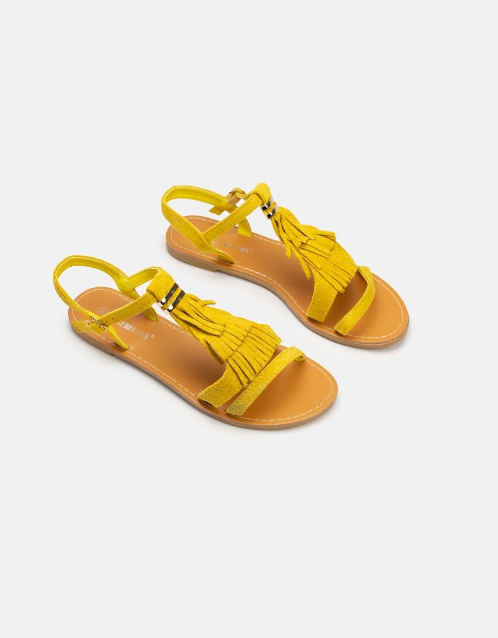 Εικόνα από Γυναικεία σανδάλια με κρόσσια Κίτρινο