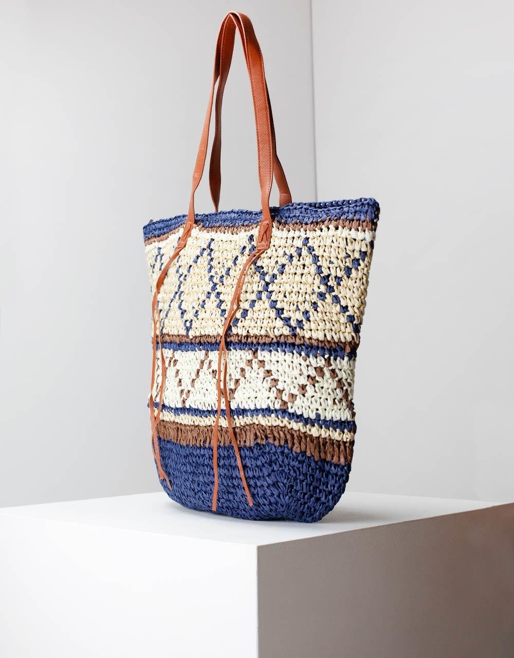 Εικόνα από Γυναικεία τσάντα ώμου με λεπτομέρειες Μπέζ/Μπλέ