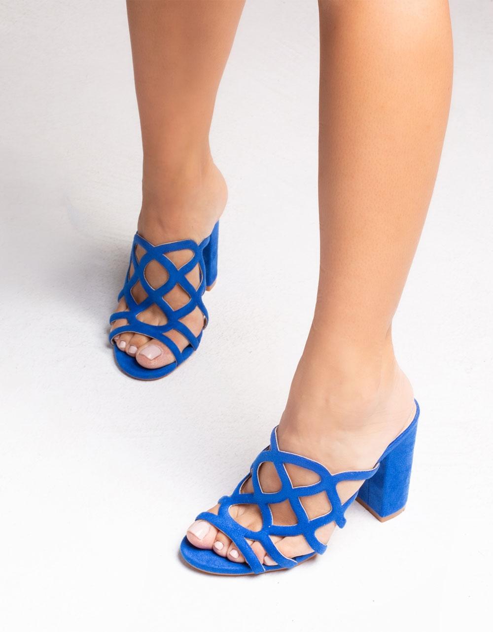 Εικόνα από Γυναικεία mules μονόχρωμα Μπλε