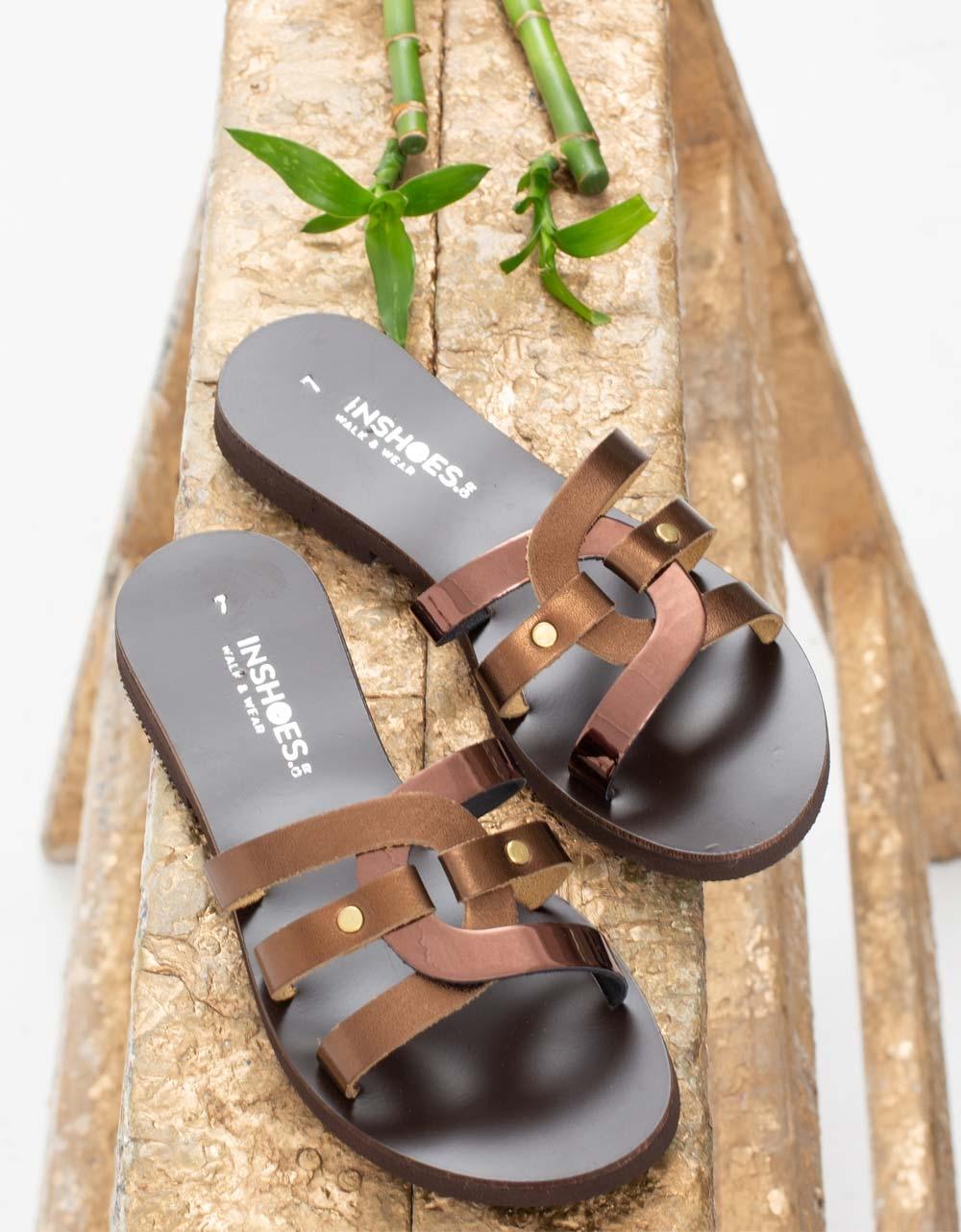 Εικόνα από Γυναικεία δερμάτινα σανδάλια με πλεκτό σχέδιο Μπρονζέ