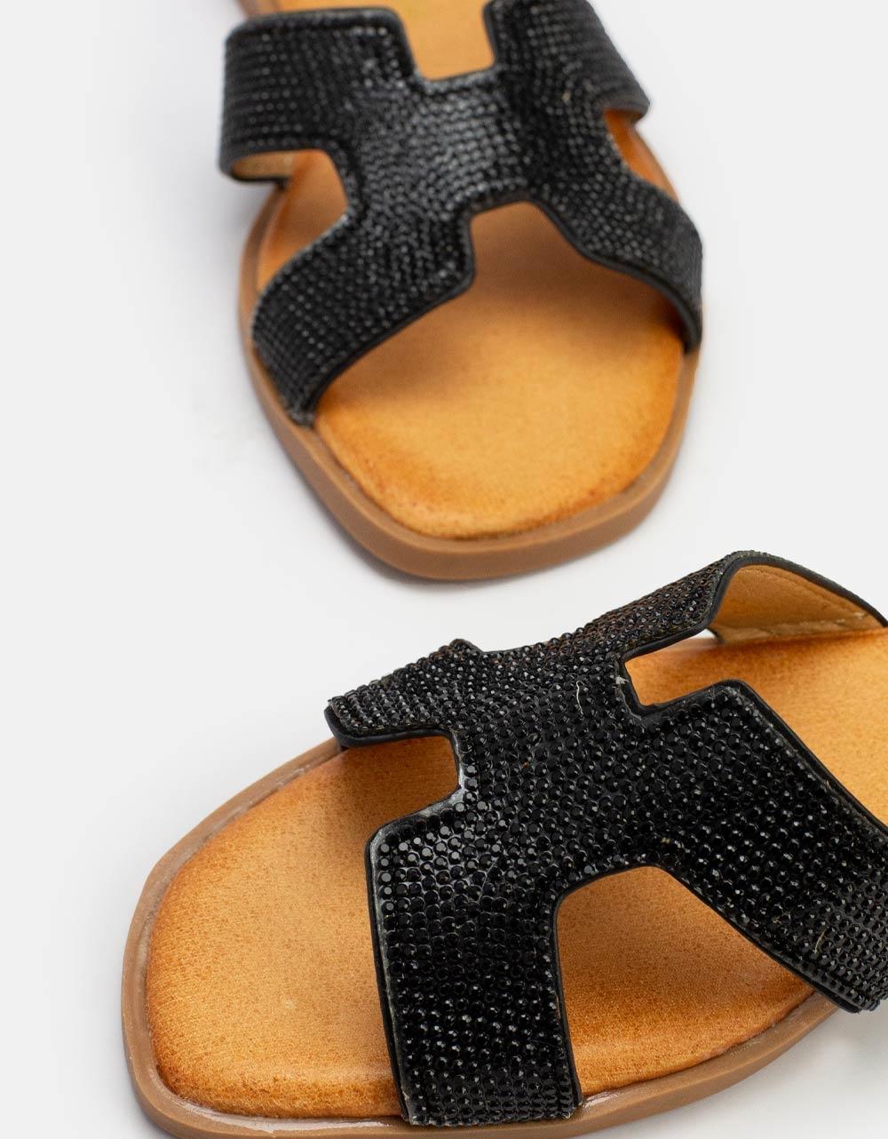 Εικόνα από Γυναικεία σανδάλια με strass Μαύρο