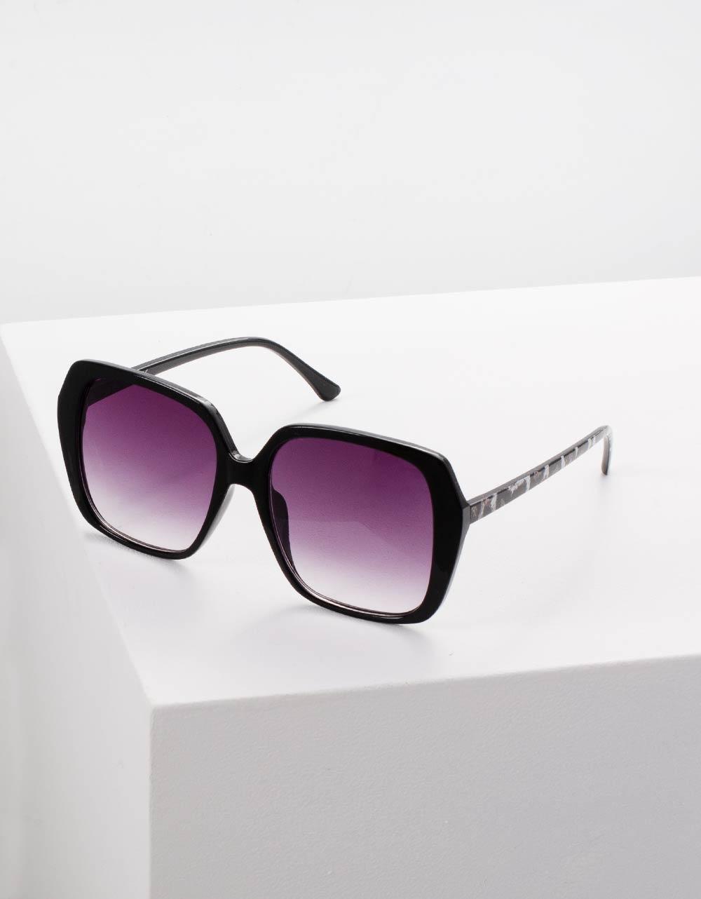 Εικόνα από Γυναικεία γυαλιά ηλίου με σκελετό λεοπάρ Μαύρο