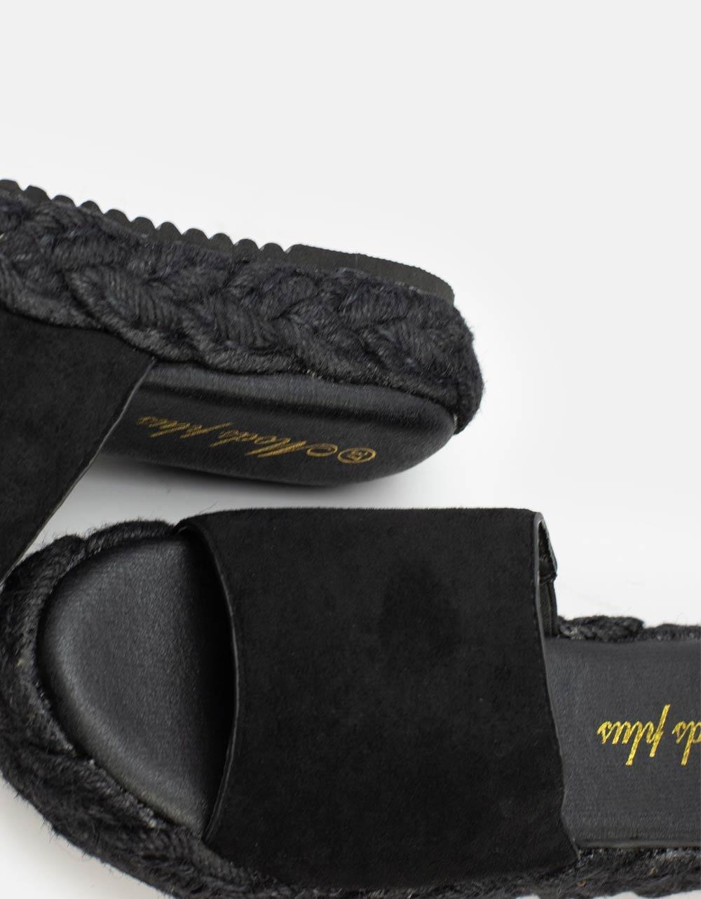 Εικόνα από Γυναικεία σανδάλια με λεπτομέρεια στην σόλα Μαύρο