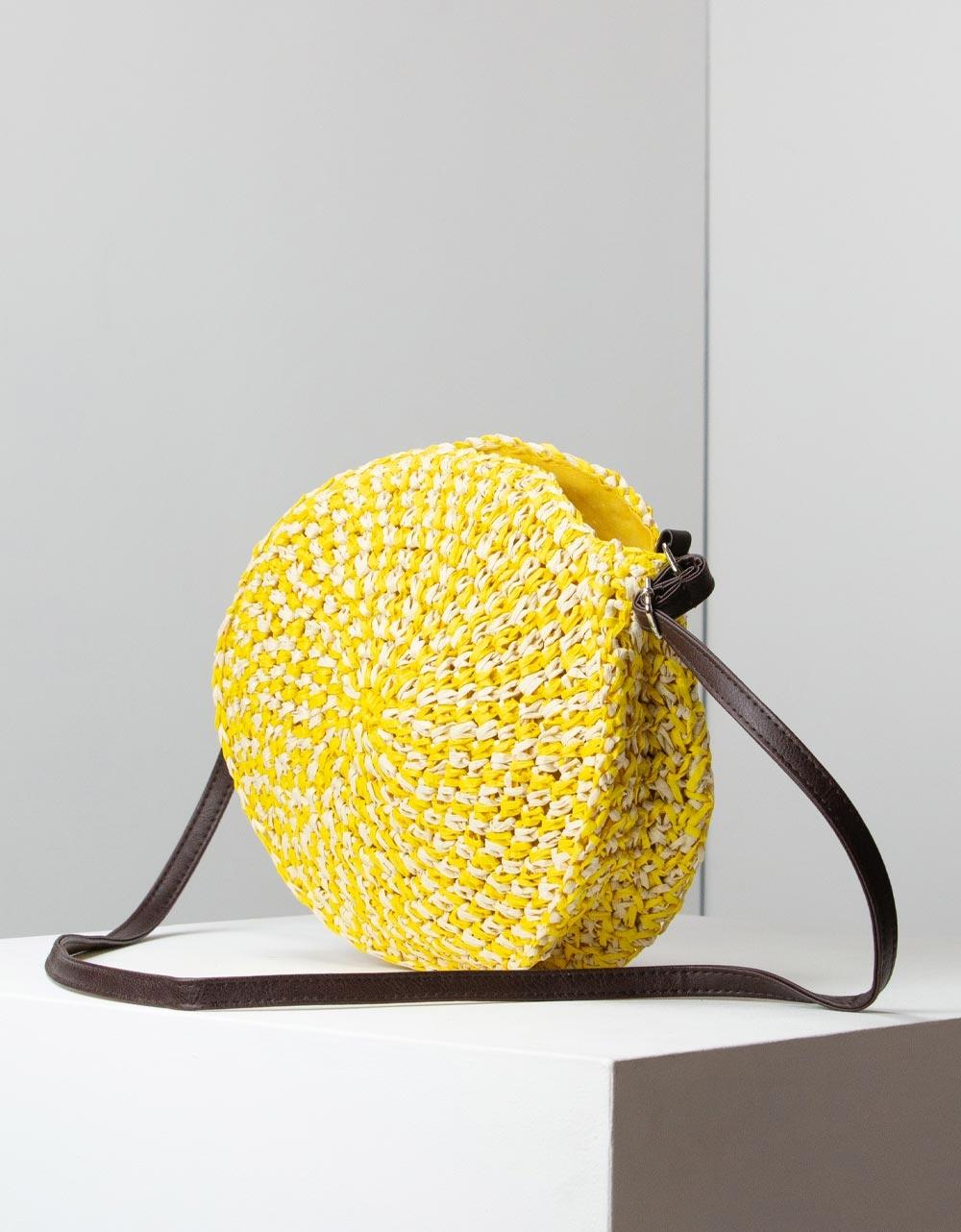 Εικόνα από Γυναικείες τσάντες ώμου ψάθινες Κίτρινο